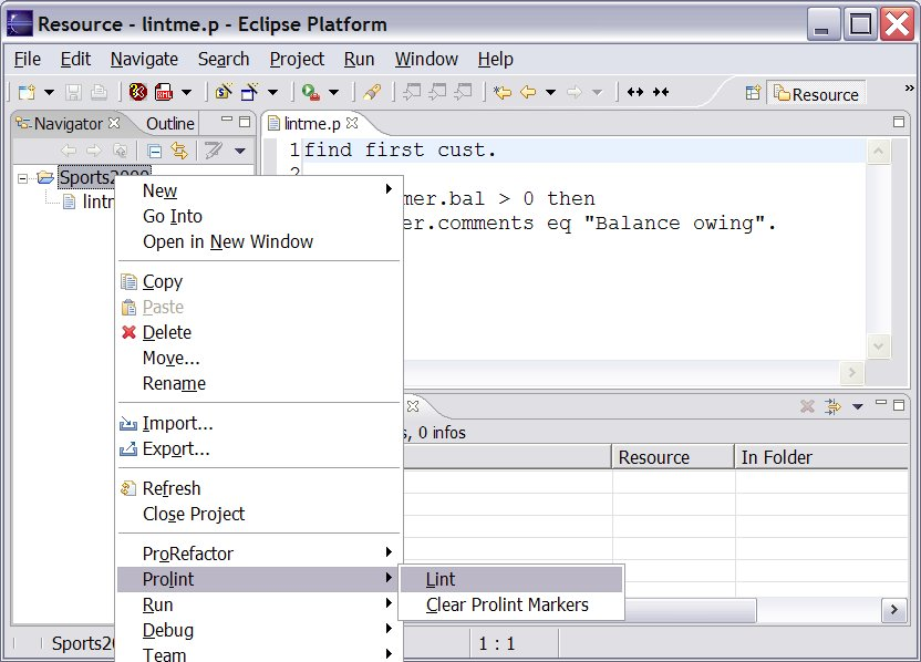 Prolint/Eclipse menu choices: There are two simple menu items for Prolint: one to find problems, and the other to clear the problem markers. Any combination of files, folders, and projects can be selected for these.